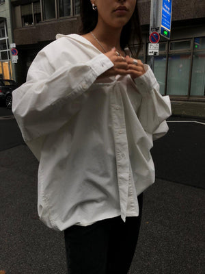 WHITE BOYFRIEND SHIRT HEAVY COTTON - BEYOND STUDIOS