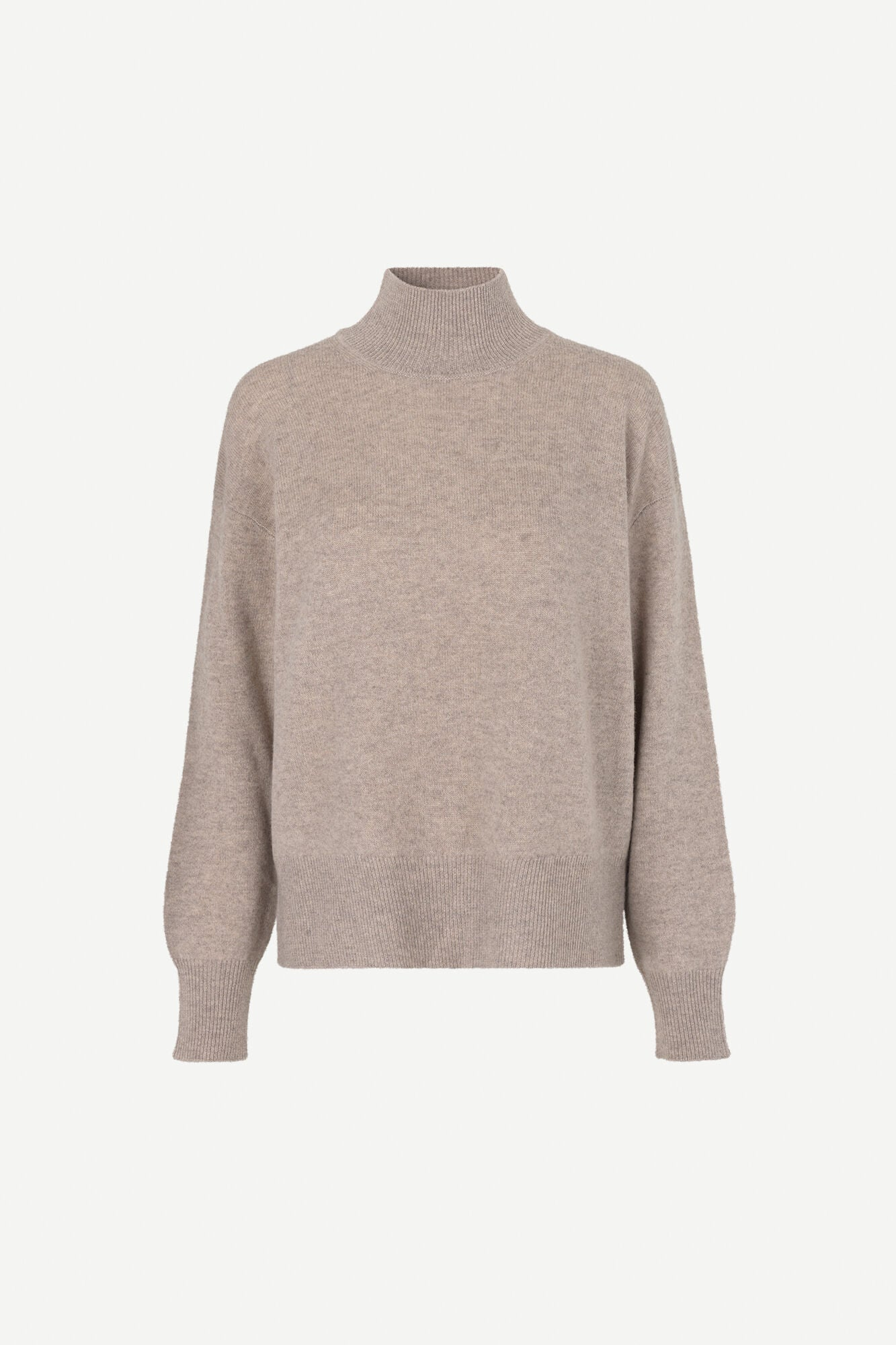 WOOL KNITTED TURTLENECK SWEATER IN WARM GREY