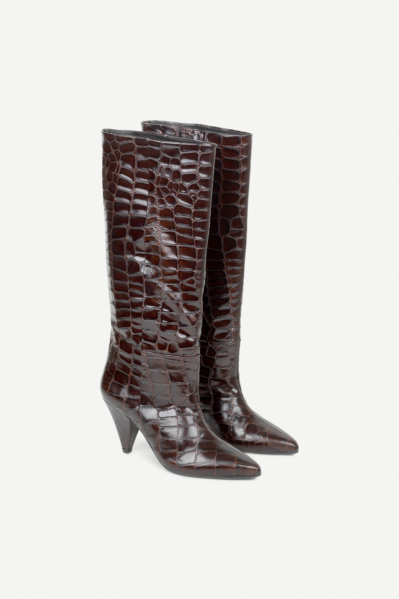 CROC EMBOSSED LEATHER HIGH BOOTS IN CHOCLATE BROWN