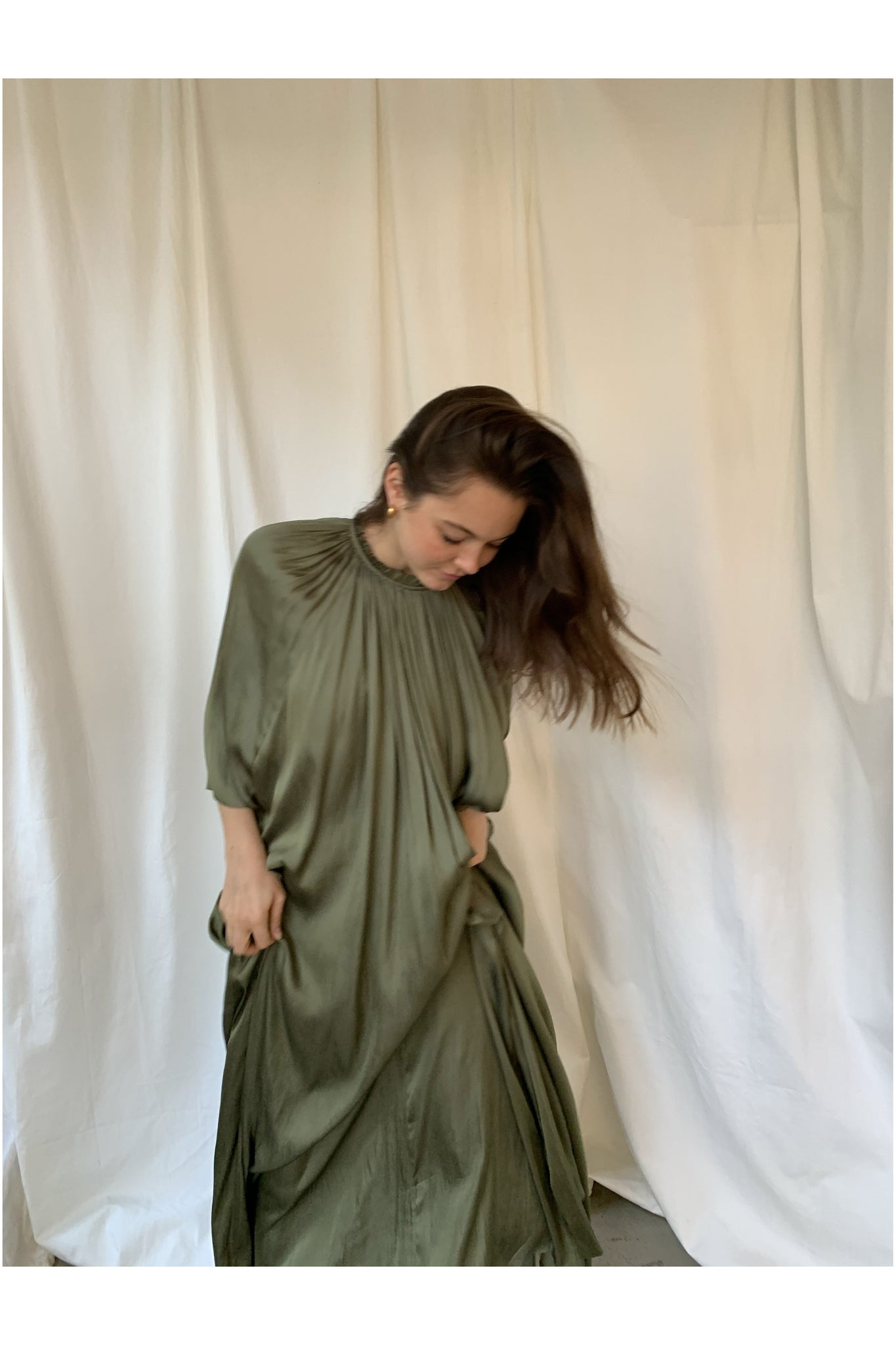SILKY SATIN MAXI DRESS IN MOSS GREEN - BEYOND STUDIOS