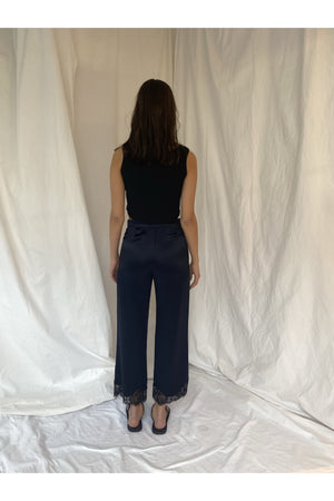 SATIN TROUSER WITH LACE DETAIL - BEYOND STUDIOS