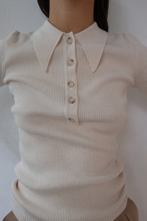 POLO COLLAR KNITTED TOP IN IVORY WHITE - BEYOND STUDIOS