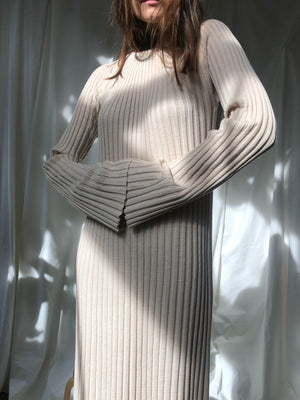 RIBBED KNIT MAXI DRESS IN NATURAL BY LOULOU STUDIO - BEYOND STUDIOS