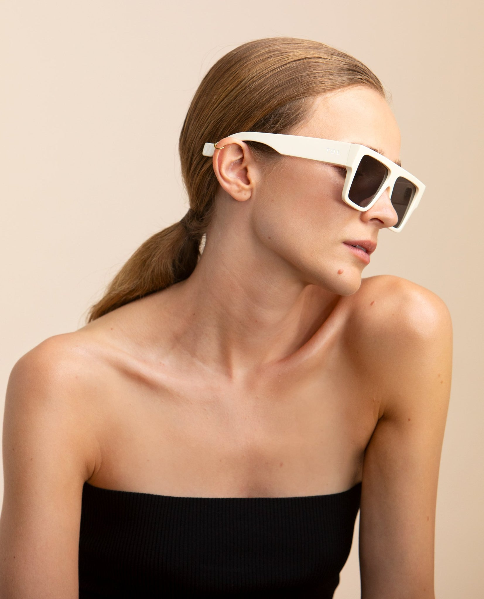 TOL EYEWEAR LAZER SUNGLASSES IN MERINGUE - BEYOND STUDIOS