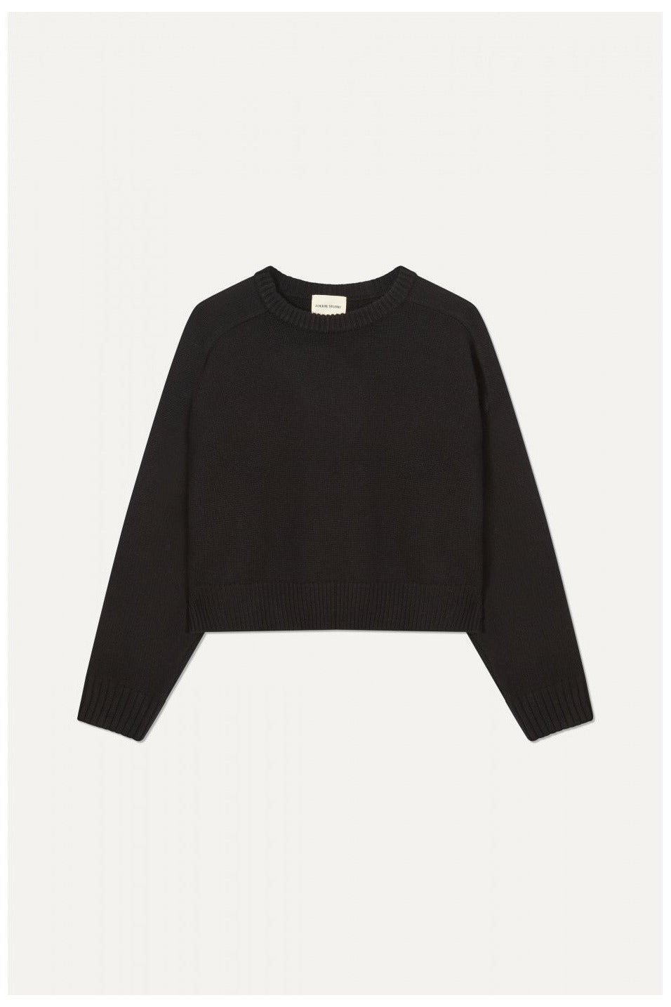 CASHMERE WOOL CROPPED SWEATER BY LOULOU STUDIO IN BLACK - BEYOND STUDIOS