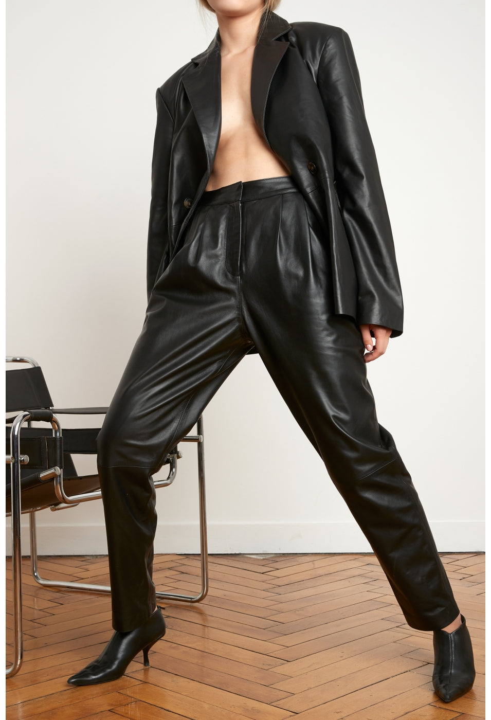 PALAOS PLEATED LEATHER TROUSERS BY LOULOU STUDIO