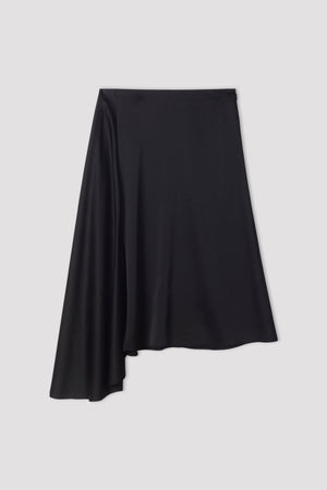 FILIPPA K DRAPEY SATIN SKIRT IN BLACK