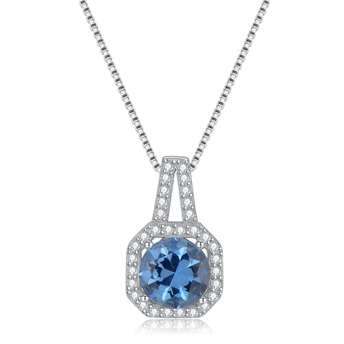 Sky Blue Topaz Gold Plated Solid 925 Sterling Silver Necklace with Zirconia - ROYANI Fashion & Jewellery