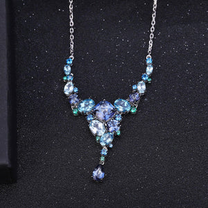 Stunningly Unique Hand-crafted Sterling Silver Gemstone Necklace Fine Jewelry - ROYANI Fashion & Jewellery