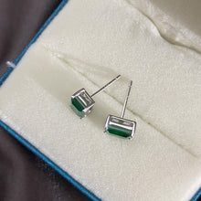 Load image into Gallery viewer, Emerald Rectangle Simple Sterling Silver Earring Studs - ROYANI Fashion & Jewellery