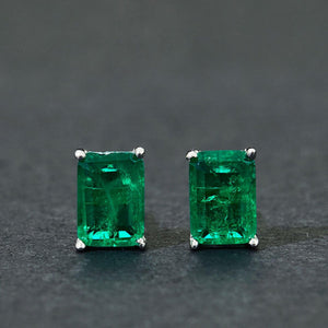 Emerald Rectangle Simple Sterling Silver Earring Studs - ROYANI Fashion & Jewellery