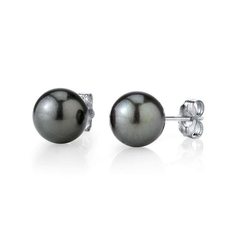 Natural Tahitian Black Pearl Earring Studs 8-12mm - ROYANI Fashion & Jewellery