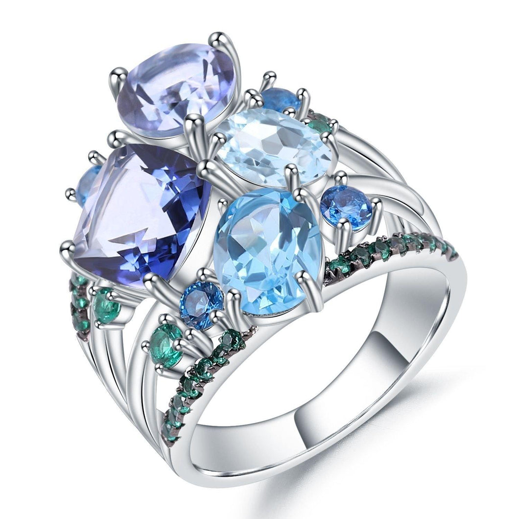 Stunningly Unique Hand-crafted Sterling Silver Gemstone Ring Fine Jewelry - ROYANI Fashion & Jewellery