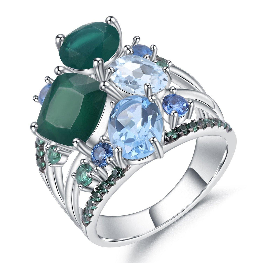 Stunningly Unique Hand-crafted Sterling Silver Gemstone Ring Fine Jewelry