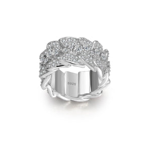 Sterling Silver and 18K gold plated Ice out Irregular Lace Ring - ROYANI Fashion & Jewellery