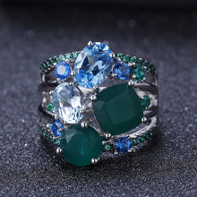 Load image into Gallery viewer, Stunningly Unique Hand-crafted Sterling Silver Gemstone Ring Fine Jewelry