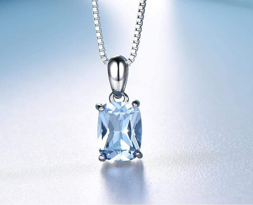 Sky Blue Topaz Octagon Pendant 6*8mm with Solid 925 Sterling Silver Box Chain for Women Rectangle - ROYANI Fashion & Jewellery
