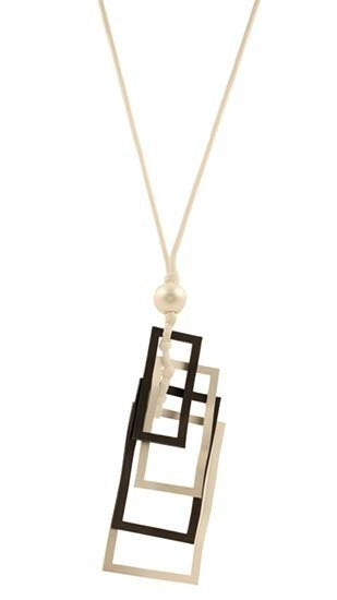 Rectangle necklace with long white cord in gun metal and matt silver