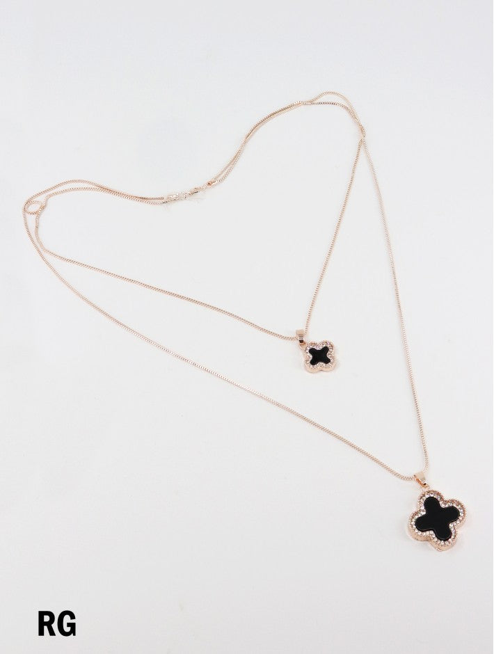 Rhinestone double layer Clover  necklace