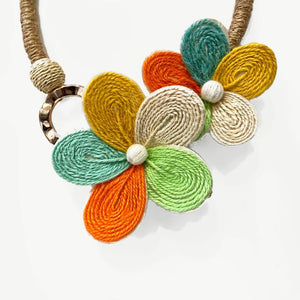 Rattan  Flower Necklace Set