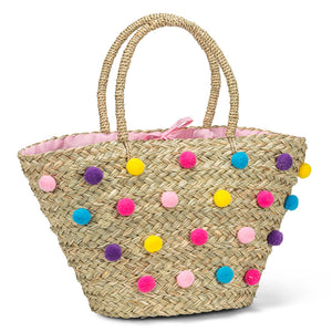 Tote with Allover pompoms