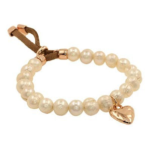 Bracelet pearl with hanging rose gold heart