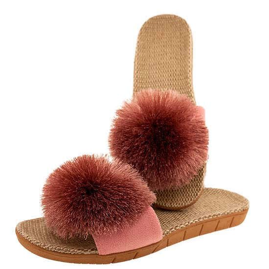 Ladies Pom Pom Sandals