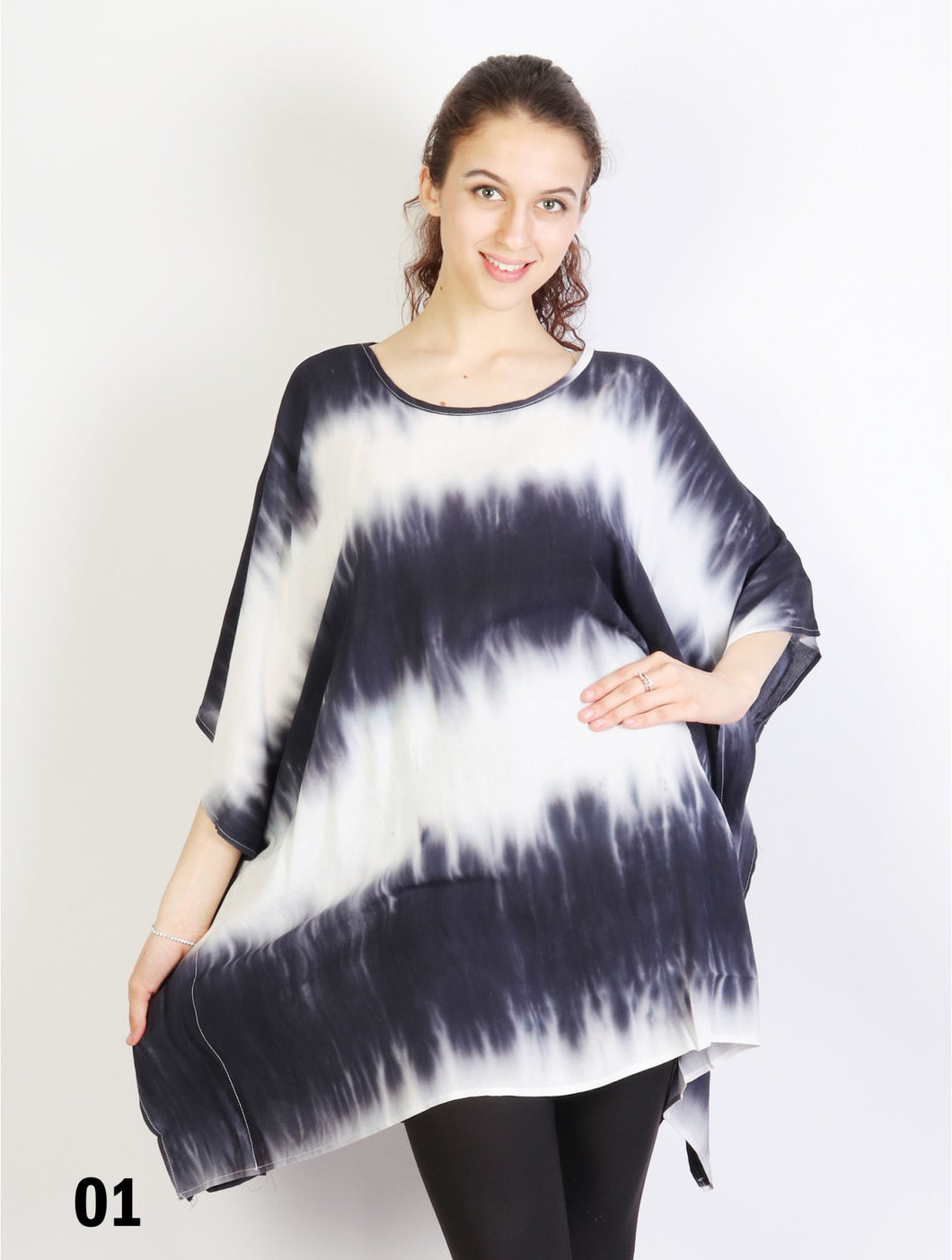 Ladies Gradient Short Sleeve loose tie-dye tunic top