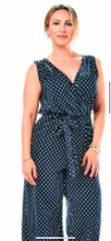 Load image into Gallery viewer, RAPZ navy Polka dot jumpsuit