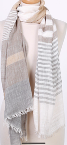 Scarf - pale pink peach colour and taupe beige