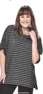 RAPZ Striped Relaxed cowl shirt