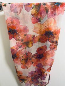 SCARF  floral with pinks