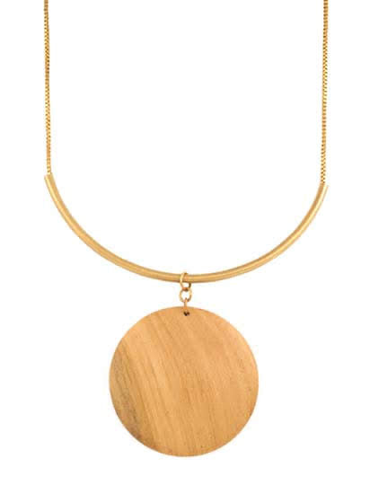 HORIZON COLLECTION  wood disc necklace / earring set