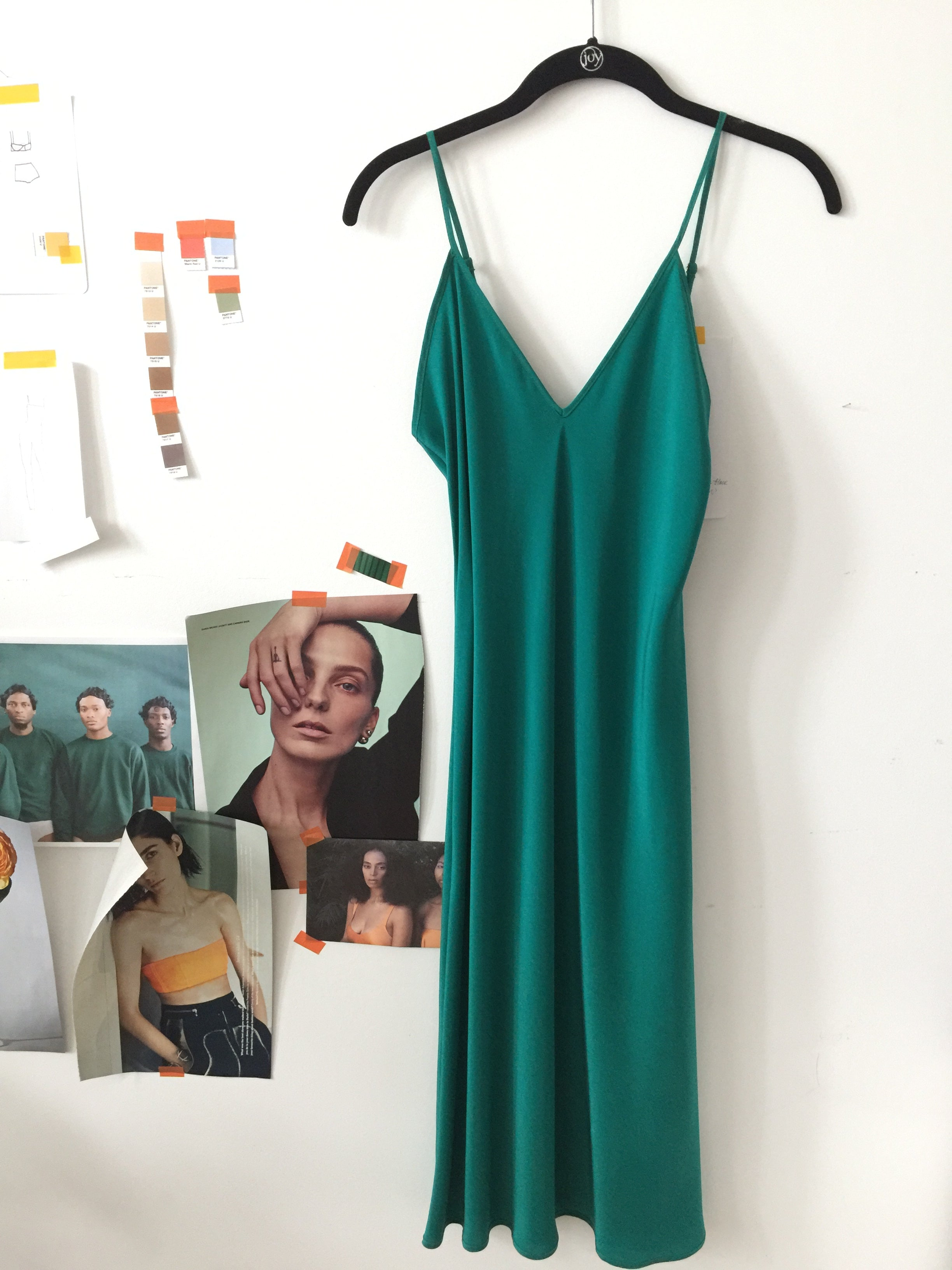 silk slip, emerald
