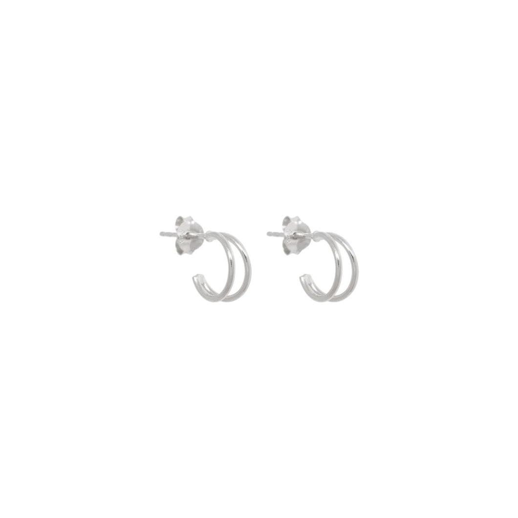 DOUBLE HOOP EARRINGS 10MM STERLING SILVER