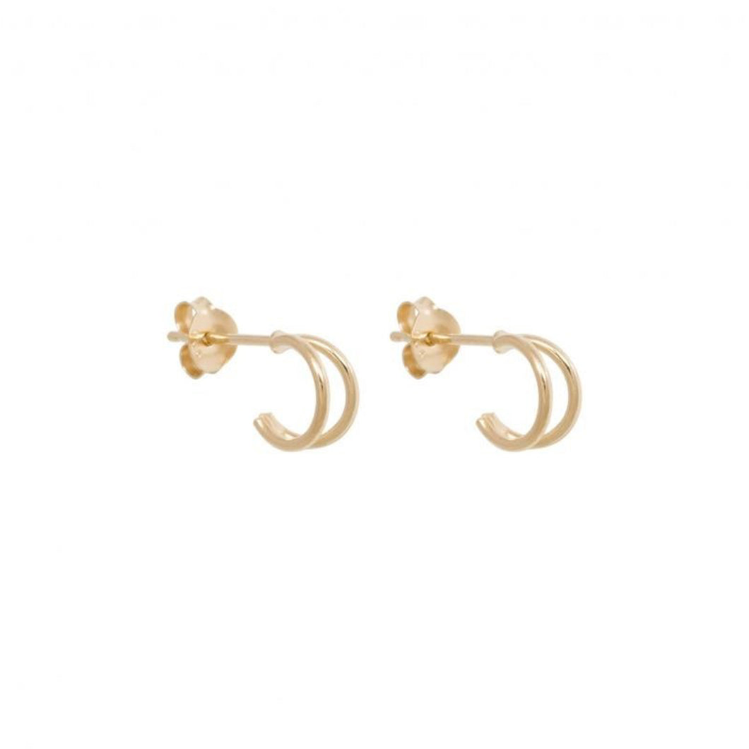 DOUBLE HOOP EARRINGS 8MM GOLD PLATED