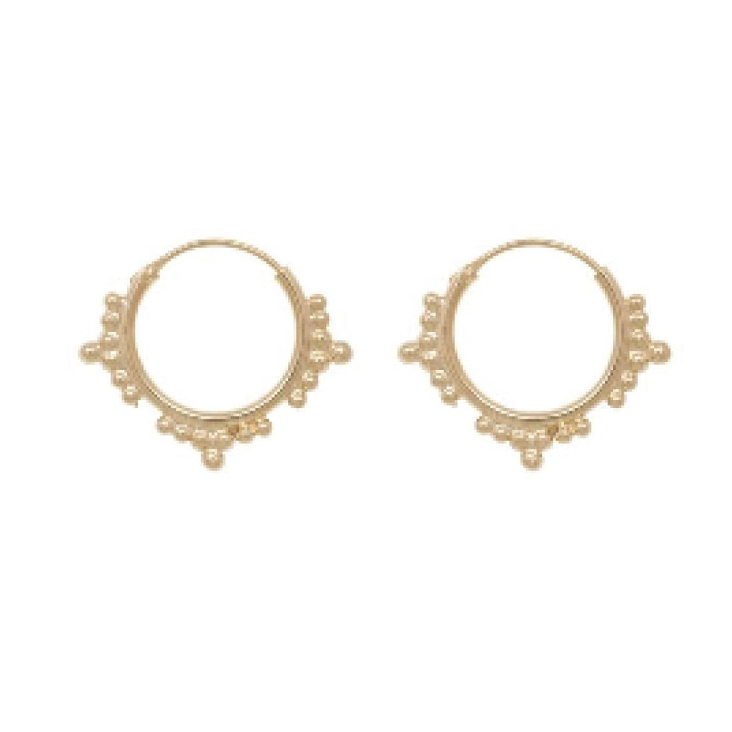 CHUNKY ETHNIC HOOP EARRINGS 15MM GOLD PLATED