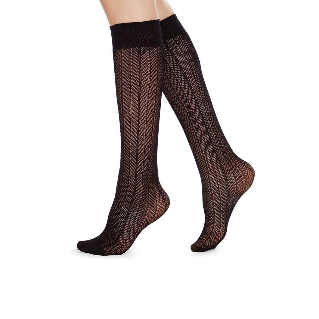 HERRINGBONE KNEE SOCKS BLACK