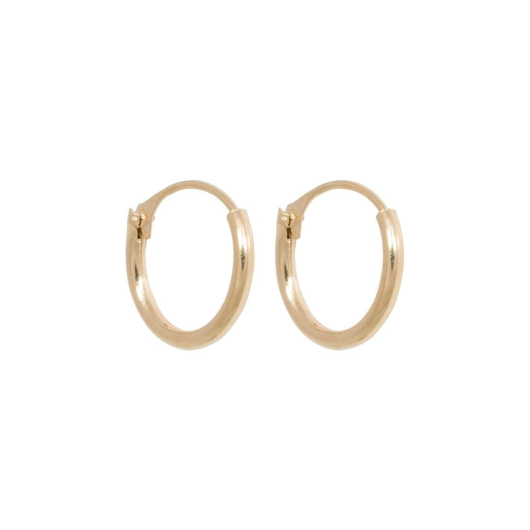 TINY HOOP EARRINGS 10MM GOLD PLATED