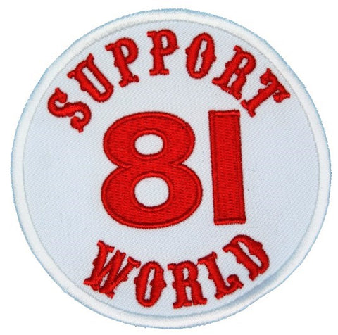 "81 Support Aufnäher ""SUPPORT 81 WORLD"" - REDANDWHITESTORE ROUTE 81"