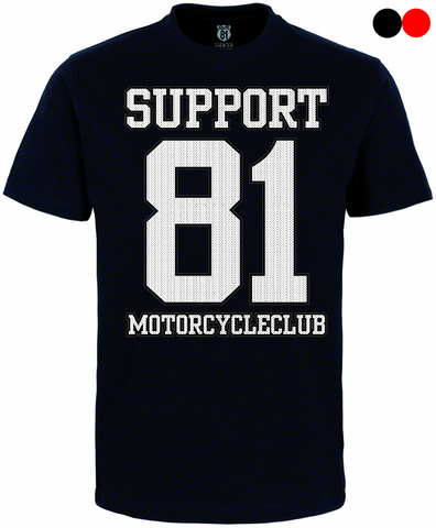 "T-SHIRT ""SUPPORT 81 MOTORCYCLECLUB F.E.A.R."" - REDANDWHITESTORE ROUTE 81"