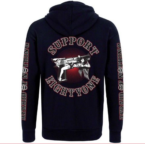 "HOODIE ""SUPPORT EIGHTYONE - AFRAID OF NOTHING"" - REDANDWHITESTORE ROUTE 81"