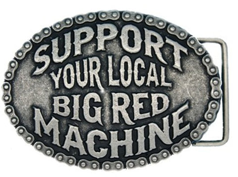 "GÜRTELSCHNALLE aus Metall, versilbert ""SUPPORT YOUR LOCAL BIG RED MACHINE"" - REDANDWHITESTORE ROUTE 81"