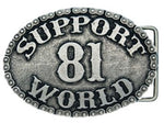 "GÜRTELSCHNALLE aus Metall, versilbert ""SUPPORT 81 WORLD"" - REDANDWHITESTORE ROUTE 81"