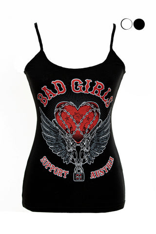 "SUPPORT 81 LADY'S TOP ""BAD GIRLS"" - REDANDWHITESTORE"