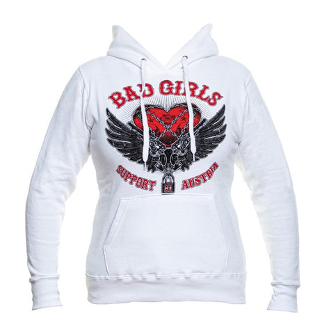 "SUPPORT 81 LADY'S KAPUZENPULLOVER ""BAD GIRLS"" - REDANDWHITESTORE"