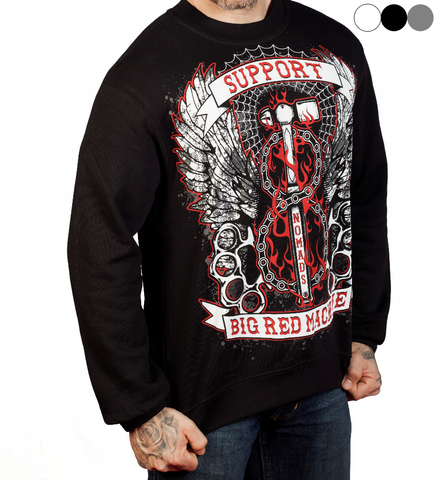"SWEATSHIRT ""SUPPORT 81 BIG RED MACHINE NOMADS - HAMMER"" - REDANDWHITESTORE ROUTE 81"