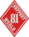 "81 Support Aufnäher ""SUPPORT 81 WORLD - RAUTE"" - REDANDWHITESTORE ROUTE 81"