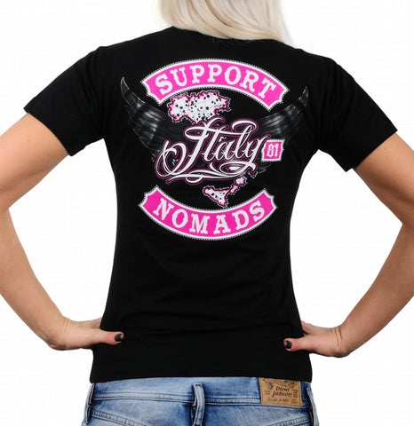 "SUPPORT 81 LADY'S SHIRT ""SUPPORT 81 NOMADS ITALY"" - REDANDWHITESTORE"