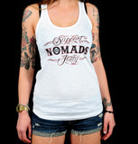 "SUPPORT 81 LADY'S TANKTOP ""SUPPORT 81 NOMADS ITALY"" - REDANDWHITESTORE ROUTE 81"